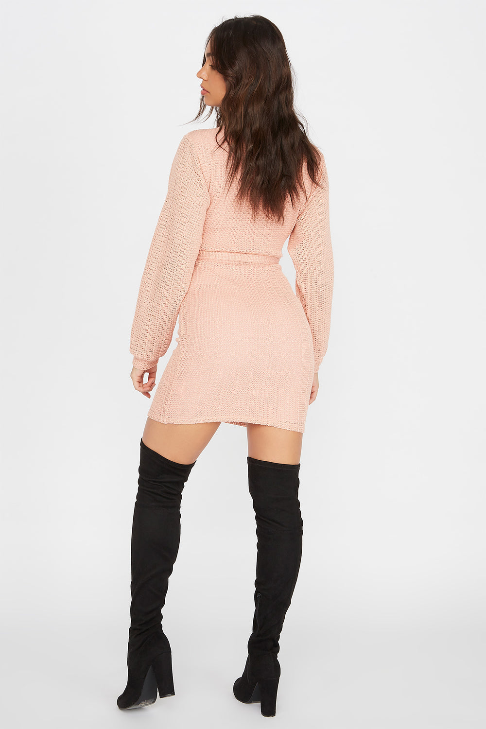 Knit Long Sleeve Self Tie Wrap Mini Dress Dusty Rose