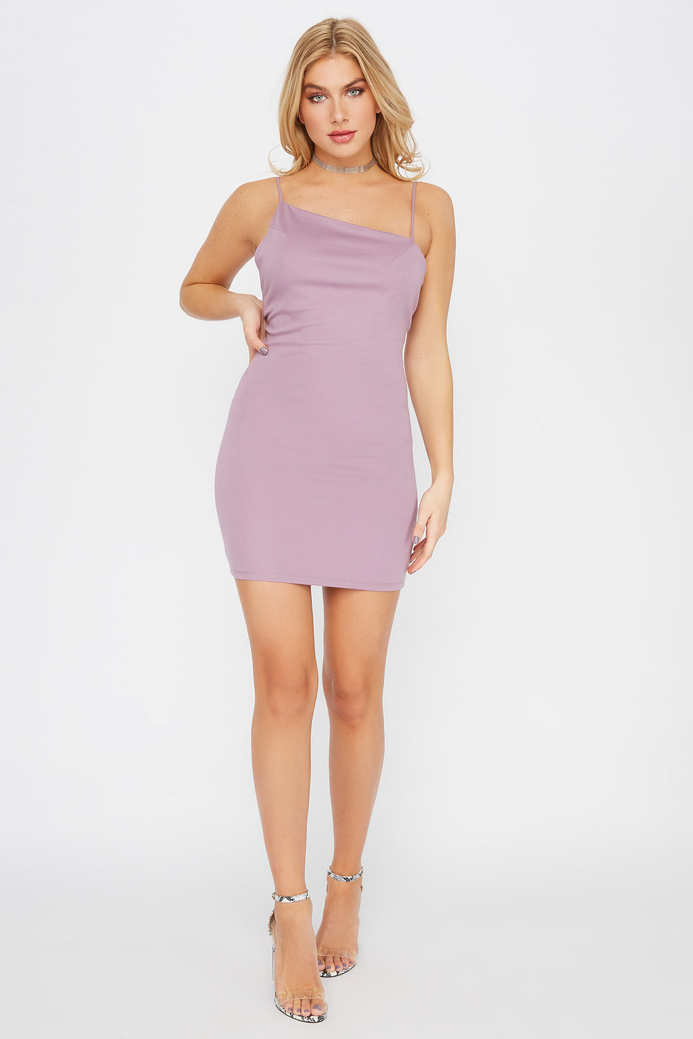 Asymmetric Bodycon Mini Dress Lilac