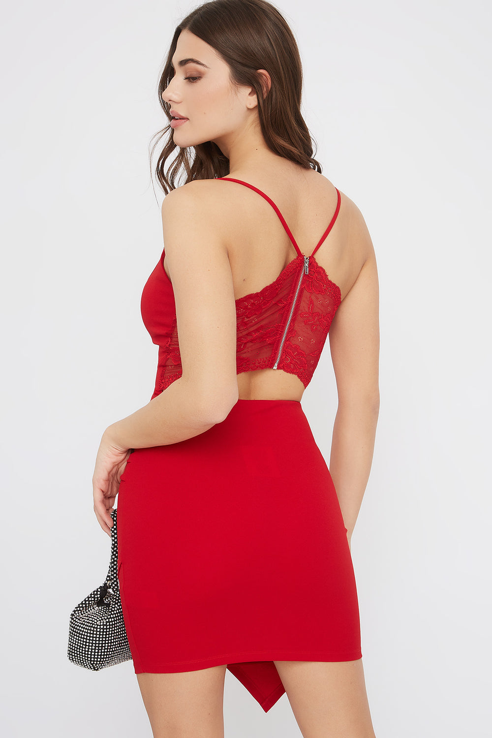 Lace Back Asymmetrical Bodycon Mini Dress Red