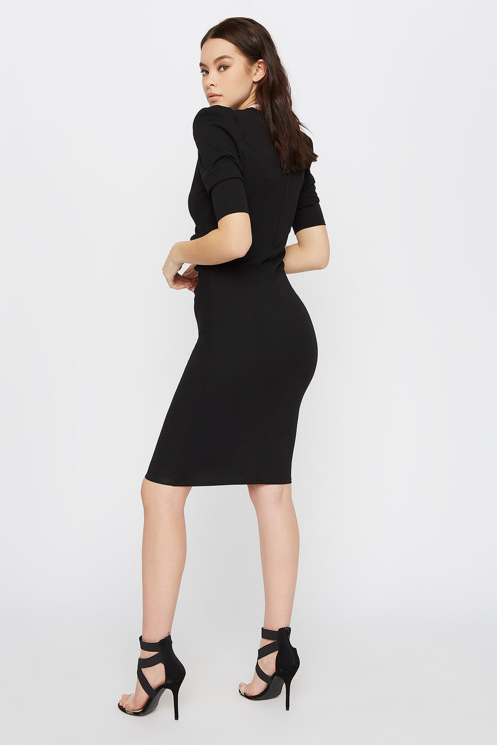 V-Neck Puff Sleeve Midi Dress Black