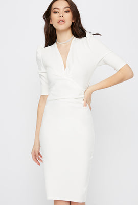 V-Neck Puff Sleeve Midi Dress