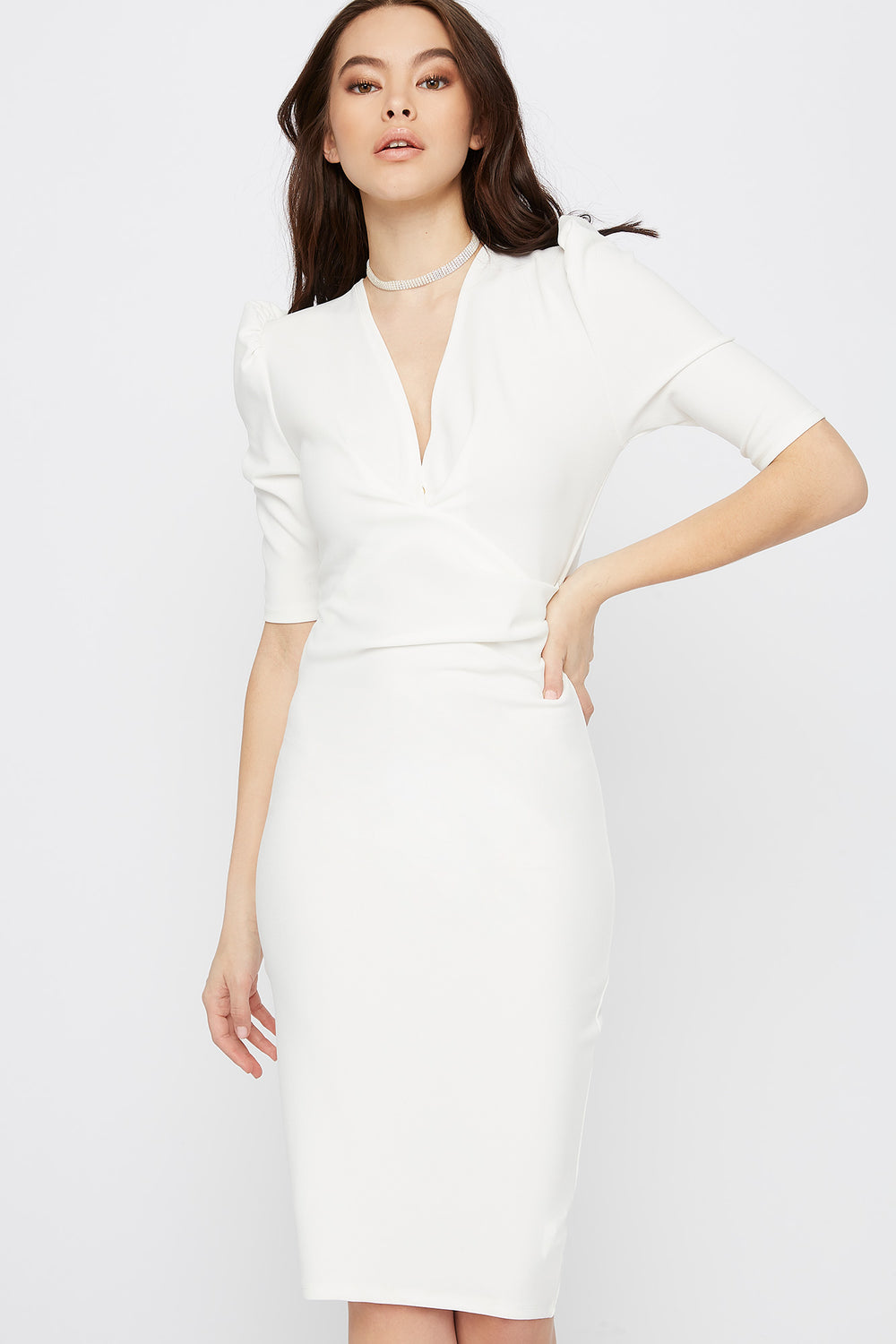 V-Neck Puff Sleeve Midi Dress Ivory