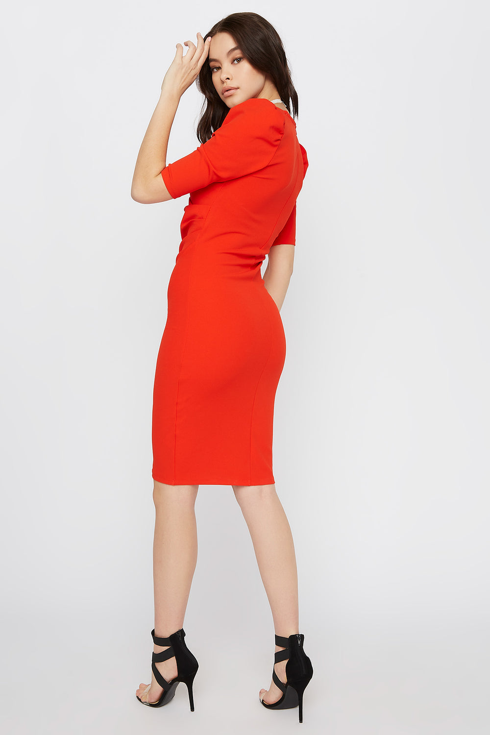 V-Neck Puff Sleeve Midi Dress Red