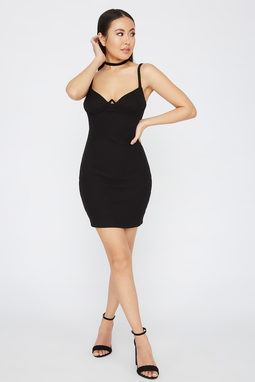 Ribbed Wire Cup Mini Dress Black