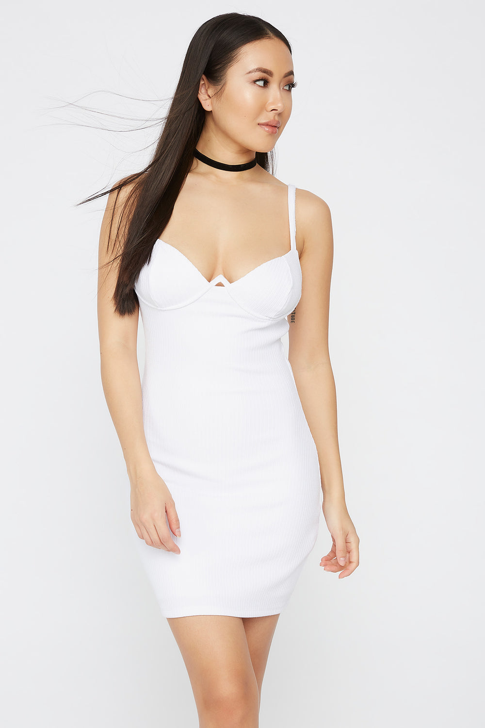 Ribbed Wire Cup Mini Dress White