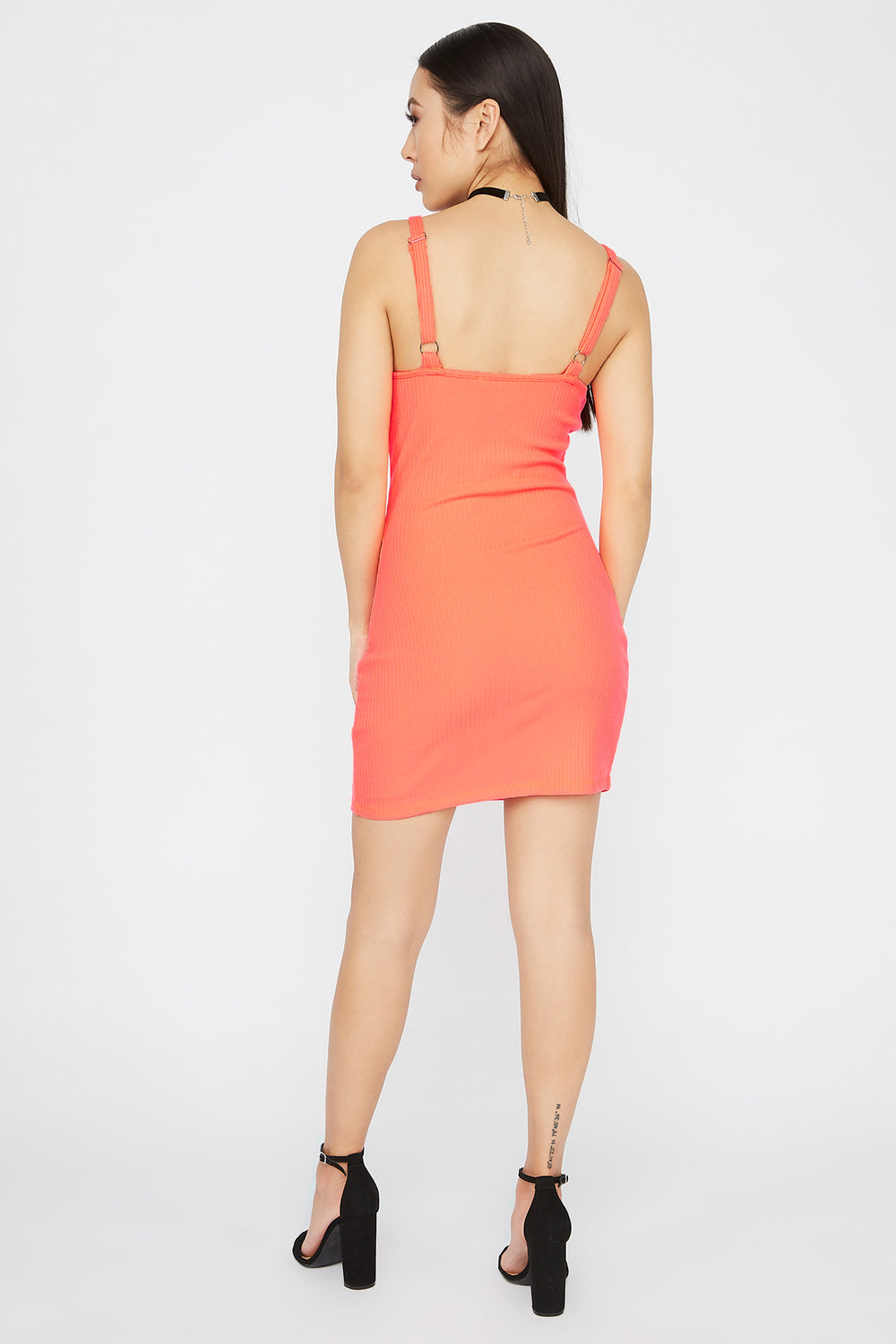 Ribbed Wire Cup Mini Dress Coral