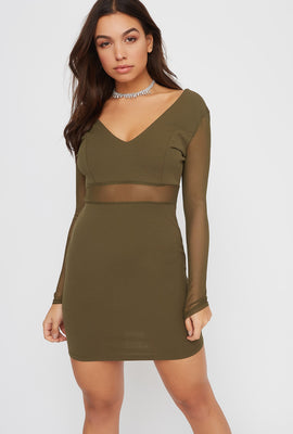 V-Neck Mesh Panel Mini Dress