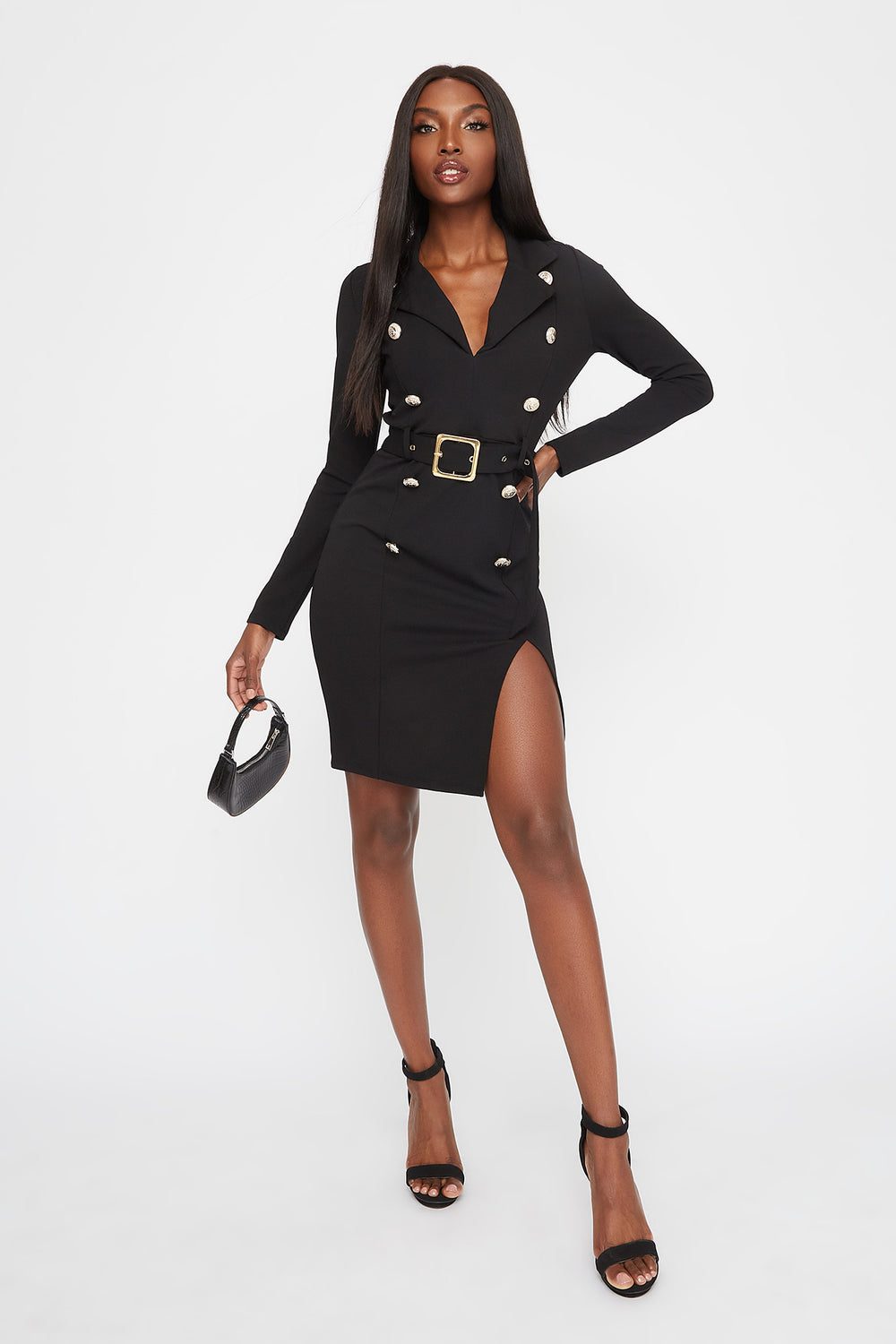 Double Breasted Belted Mini Dress Black