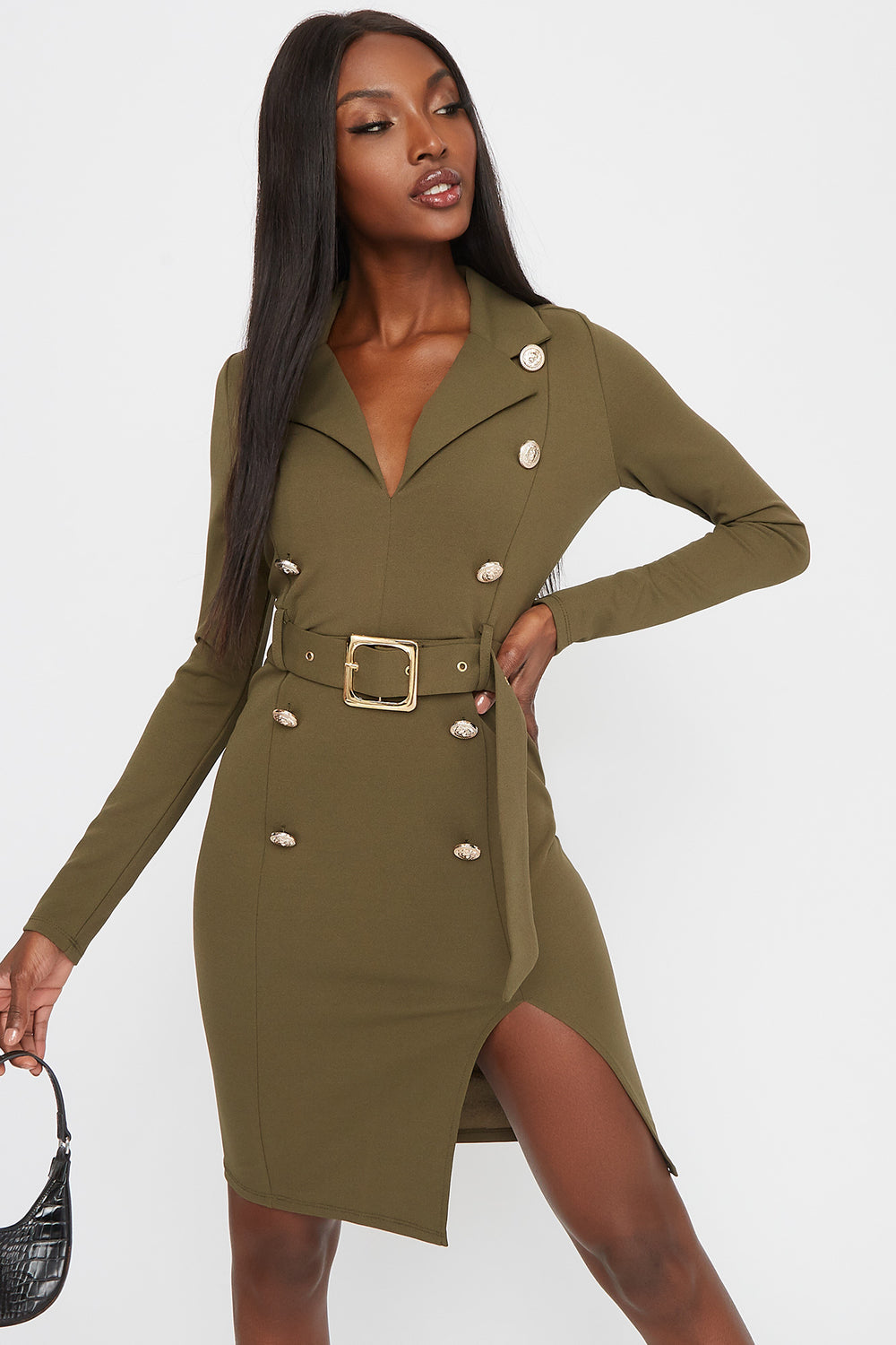 Double Breasted Belted Mini Dress Dark Green