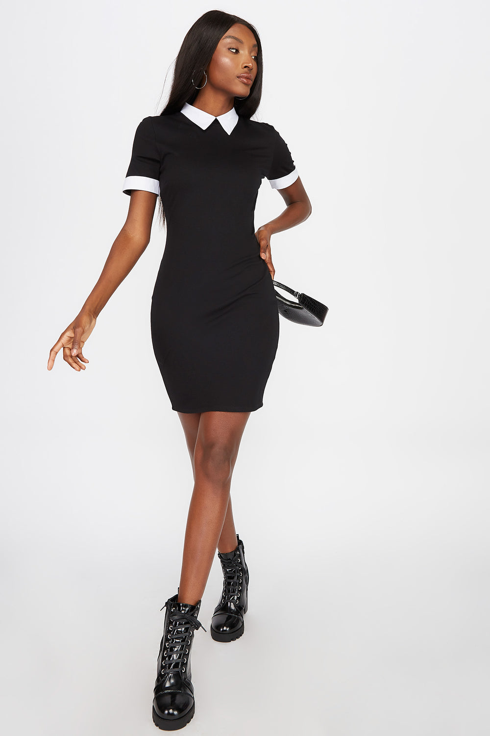 Collar Contrast Mini Dress Black