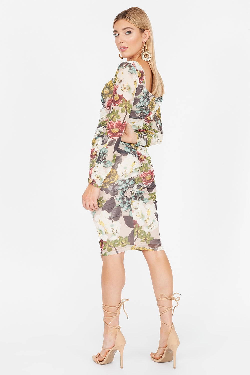 Printed Mesh Ruched Sweetheart Long Sleeve Dress Oatmeal