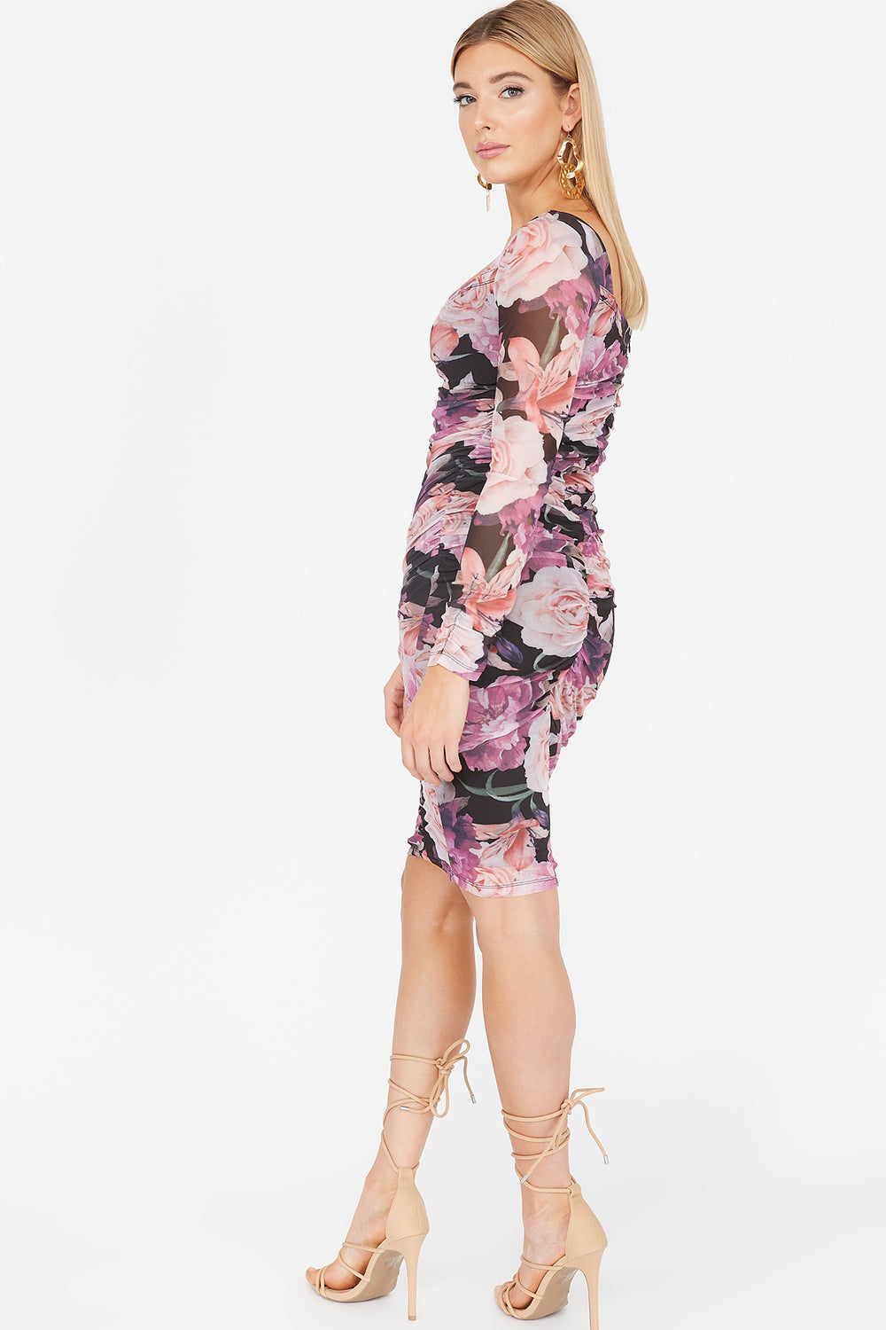 Floral Mesh Ruched Sweetheart Long Sleeve Dress Pink