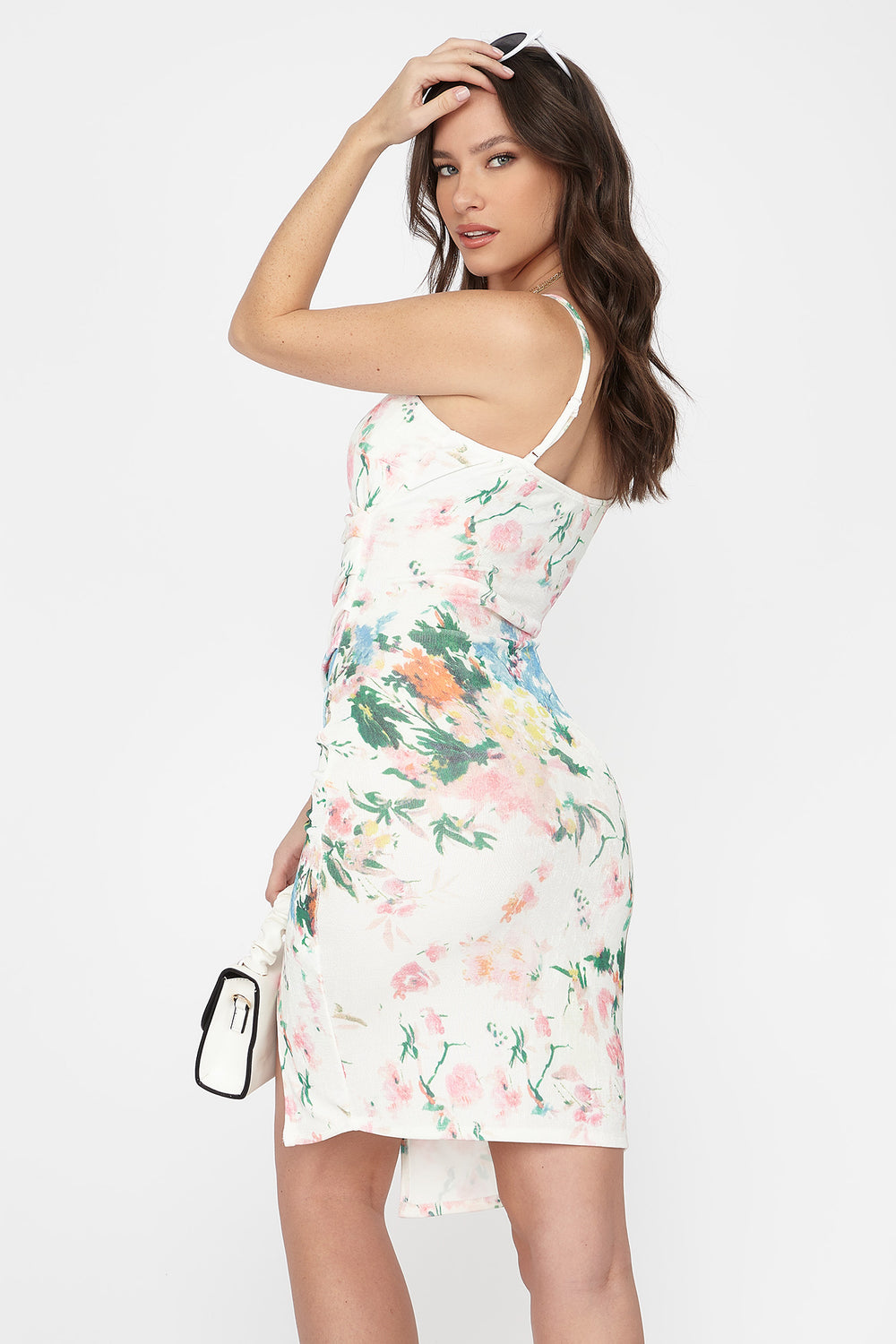 Floral Asymmetrical V-Neck Wrap Mini Dress Ivory