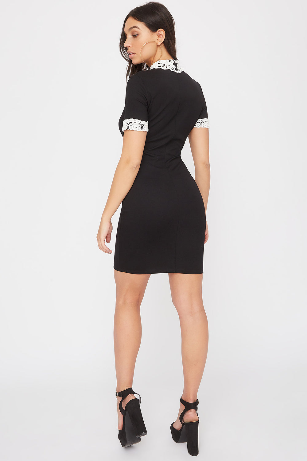 Lace Trim Short Sleeve Mini Dress Black