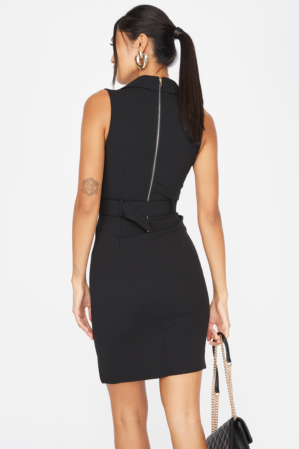 V-Neck Double Breasted Belted Sleeveless Dress Black