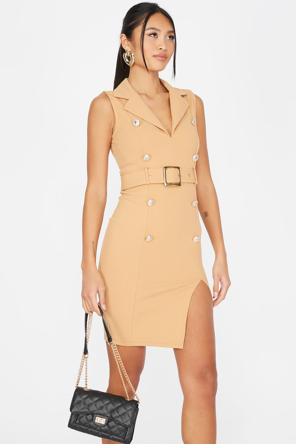 V-Neck Double Breasted Belted Sleeveless Dress Light Brown