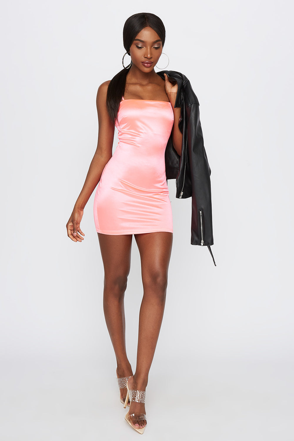 Shine Square Neck Bodycon Mini Dress Neon Pink