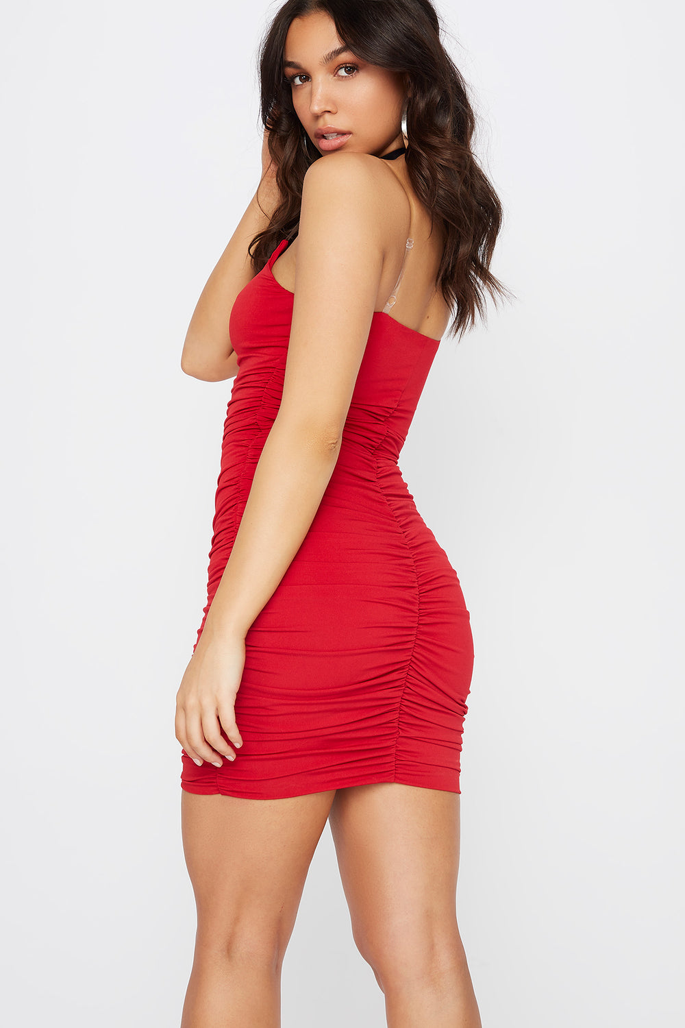 Ruched Clear Strap Mini Dress Red