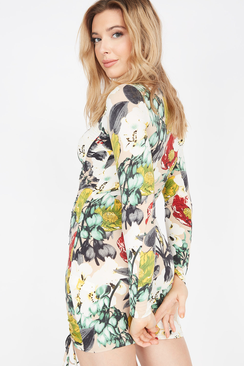 Soft 2-Piece Floral Ruched Front Long Sleeve Dress And Washable & Reusable Protective Face Mask Oatmeal
