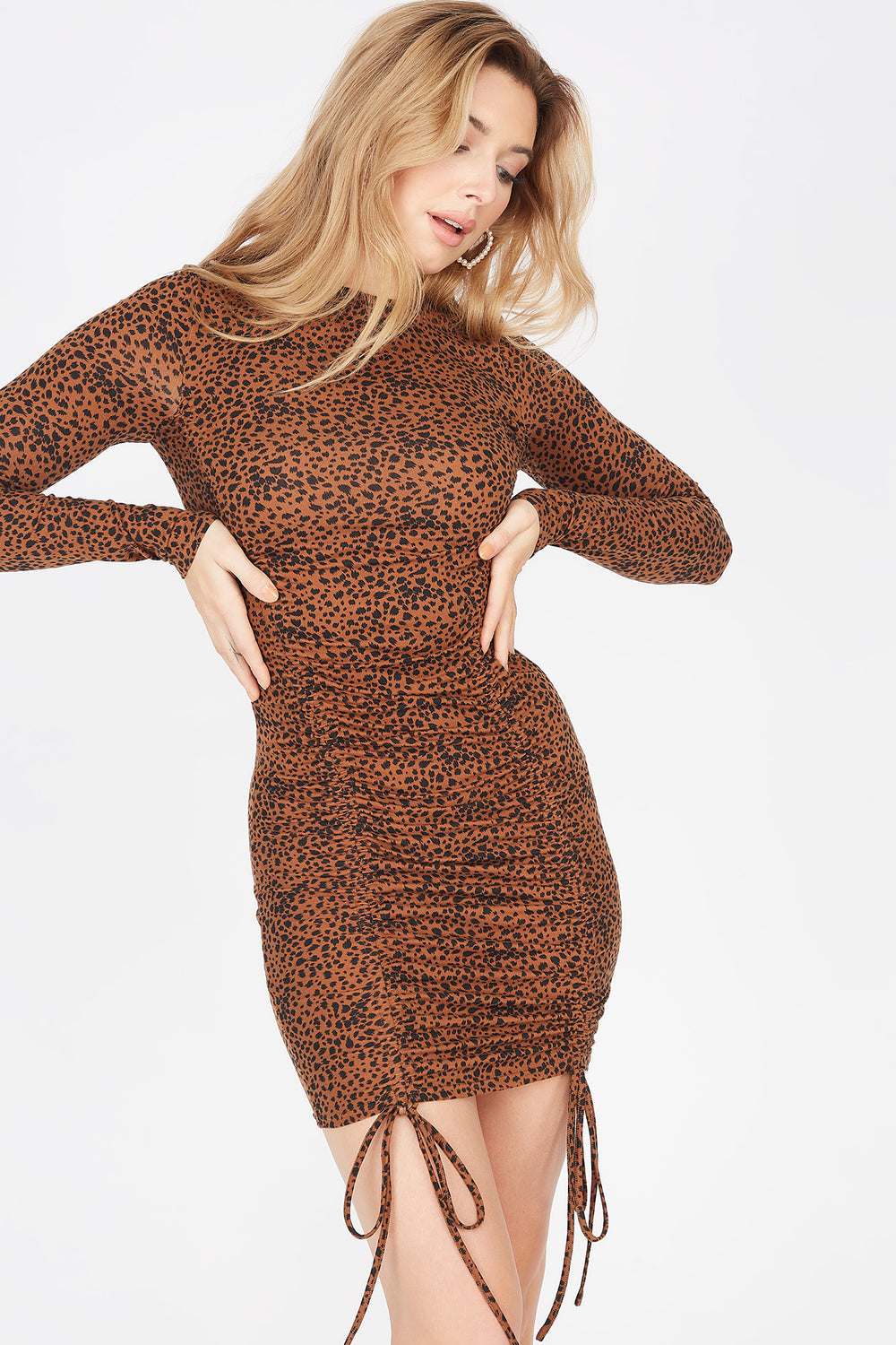 Soft 2-Piece Animal Printed Ruched Front Long Sleeve Dress And Washable & Reusable Protective Face Mask Brown
