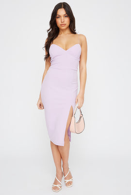 Sweetheart Neck Slit Midi Dress