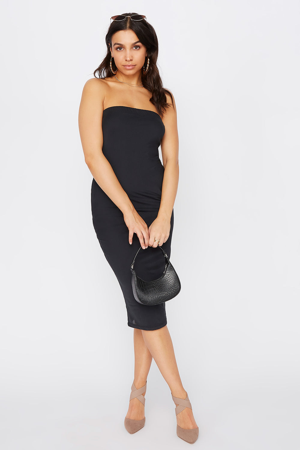 Strapless Bodycon Midi Dress Black