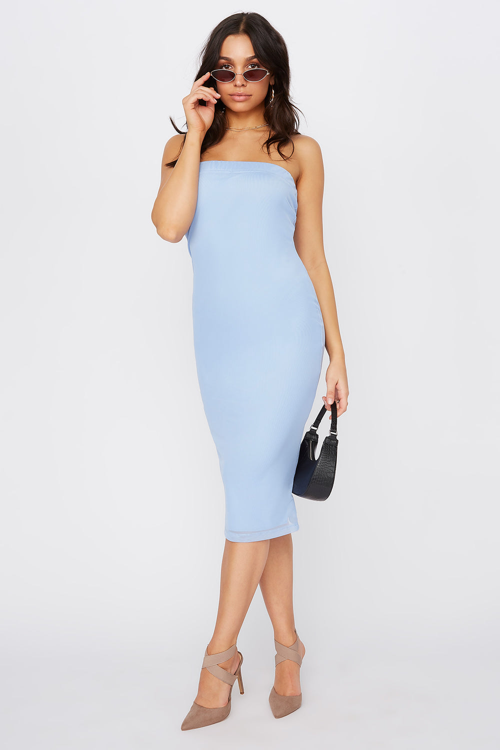 Strapless Bodycon Midi Dress Light Blue