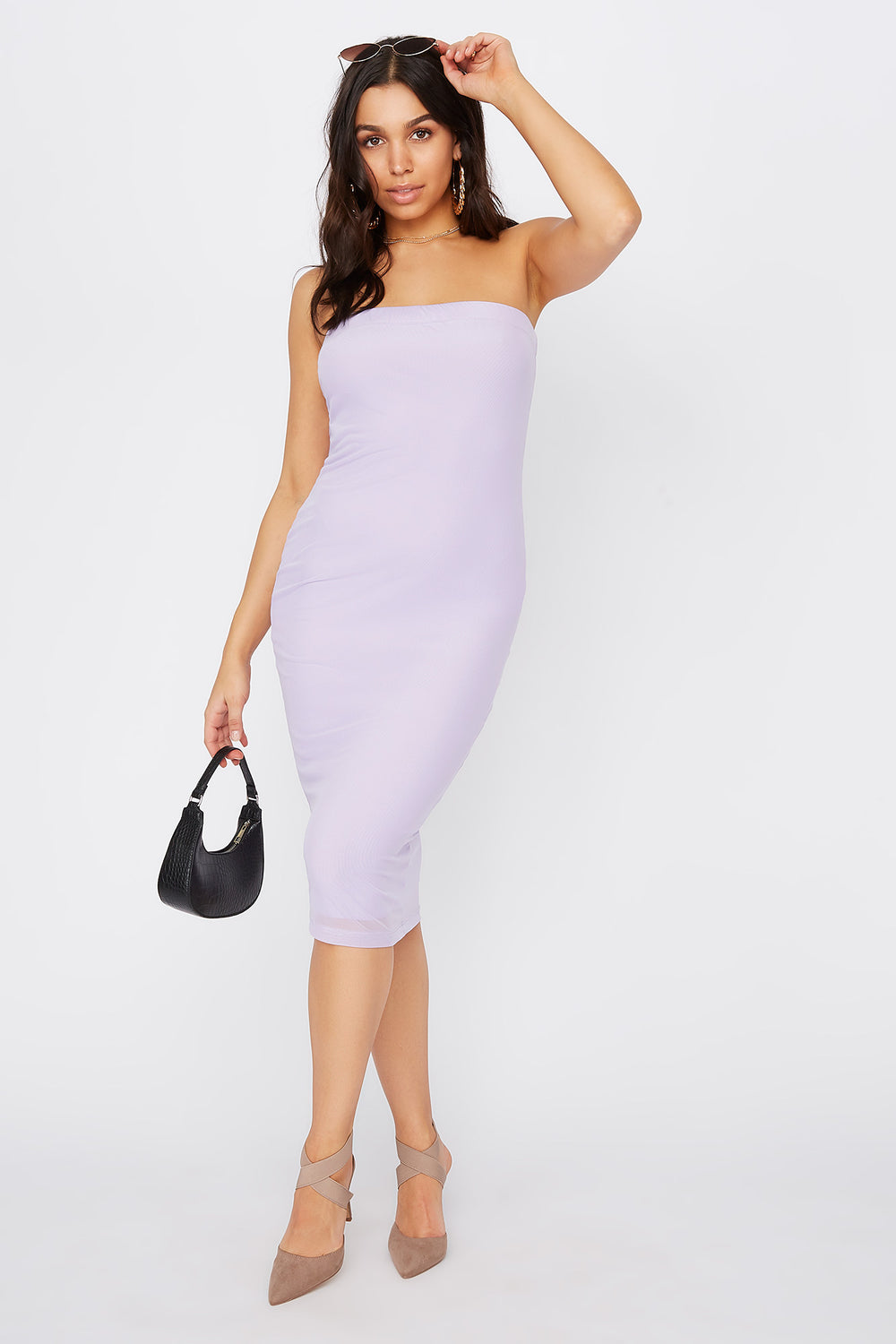 Strapless Bodycon Midi Dress Lilac
