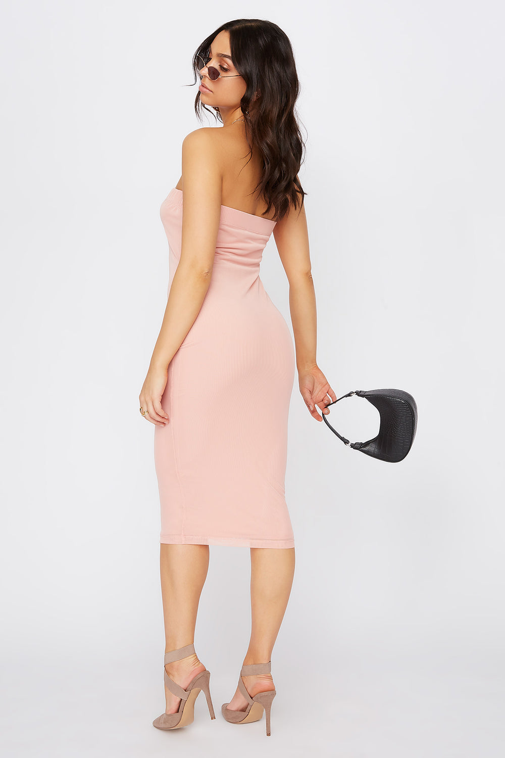 Strapless Bodycon Midi Dress Dusty Rose
