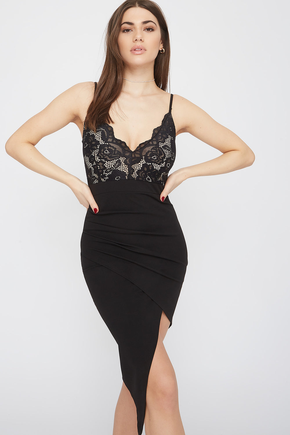 Asymmetric Lace Contrast V-Neck Midi Dress Black