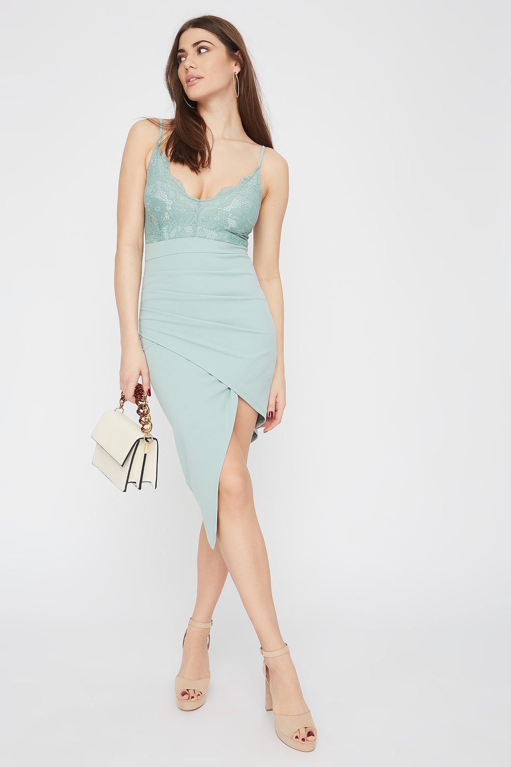Asymmetric Lace Contrast V-Neck Midi Dress Sage
