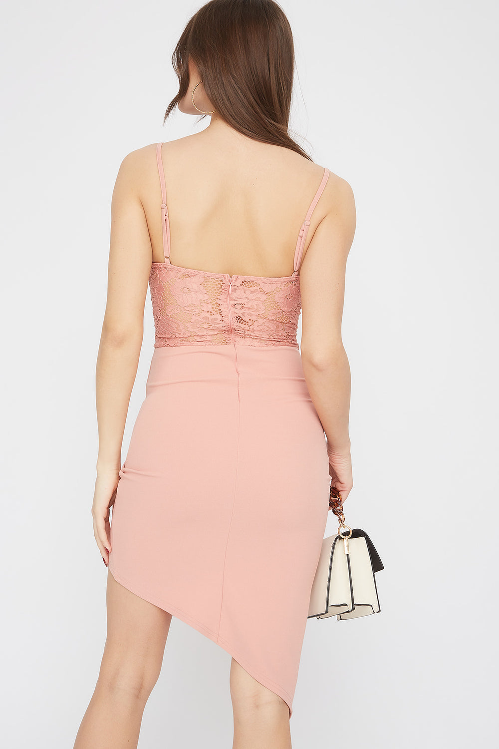 Asymmetric Lace Contrast V-Neck Midi Dress Rose