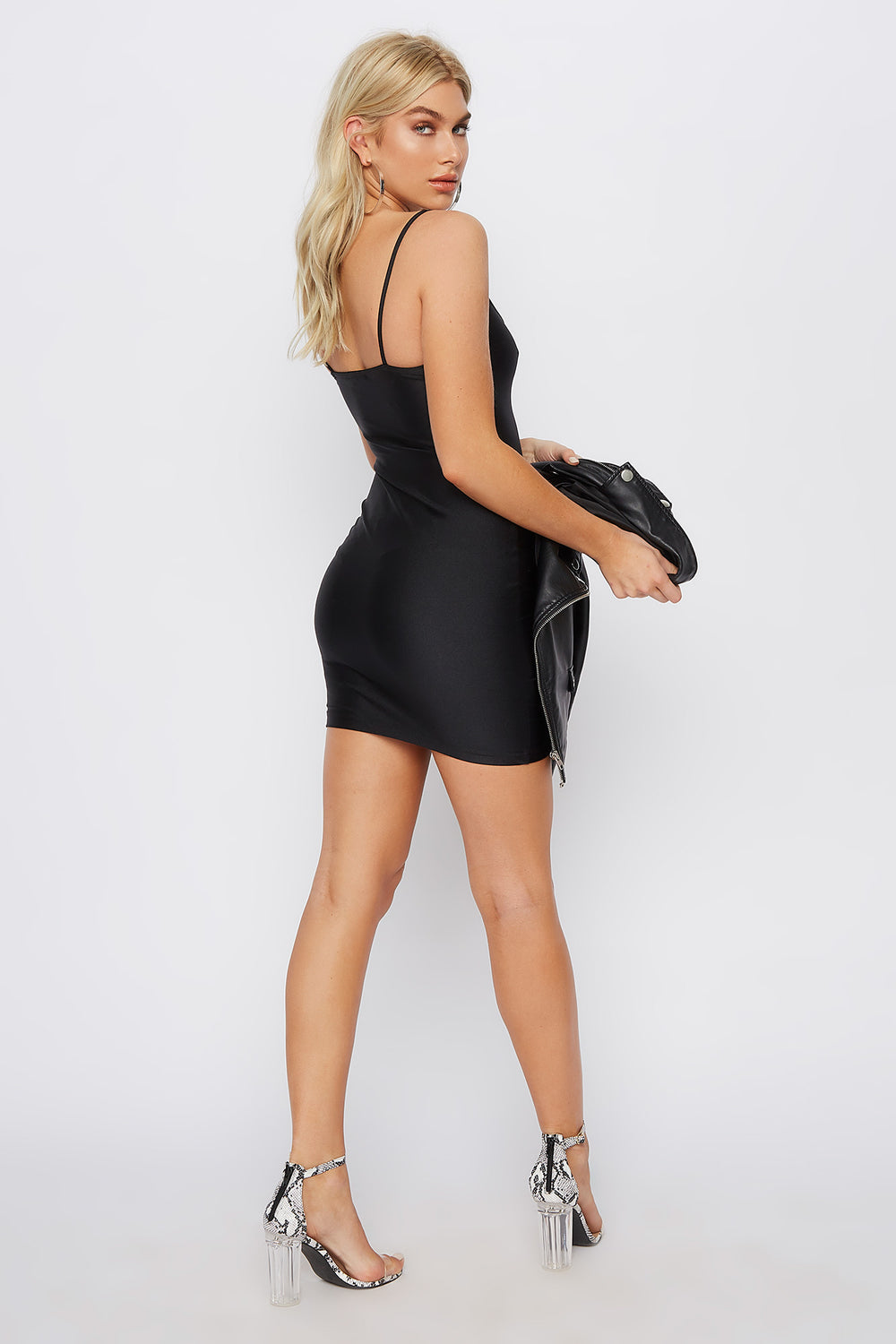 Scoop Neck Crystal Mini Tank Dress Black