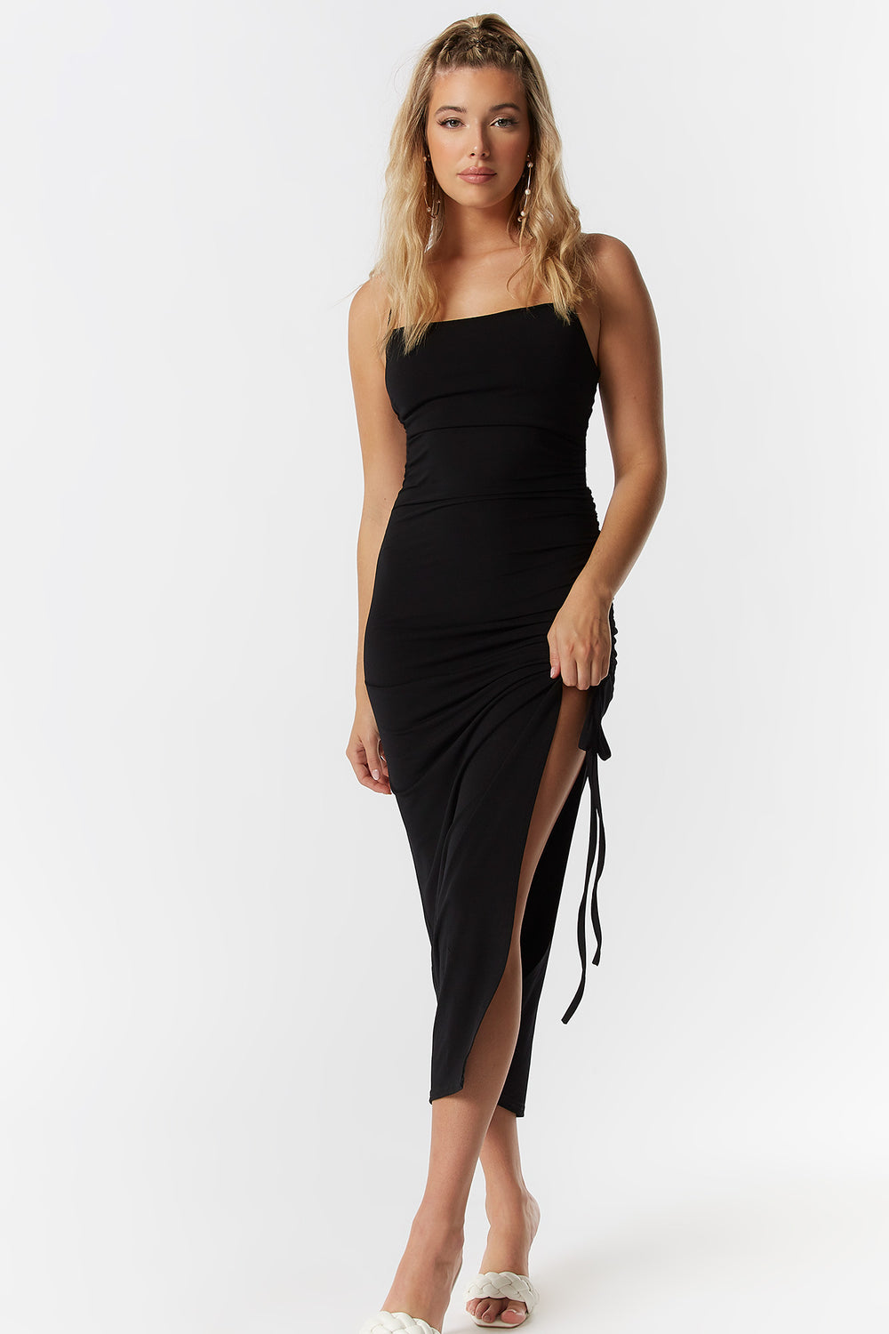 Solid Ruched Side Tie Midi Dress Black