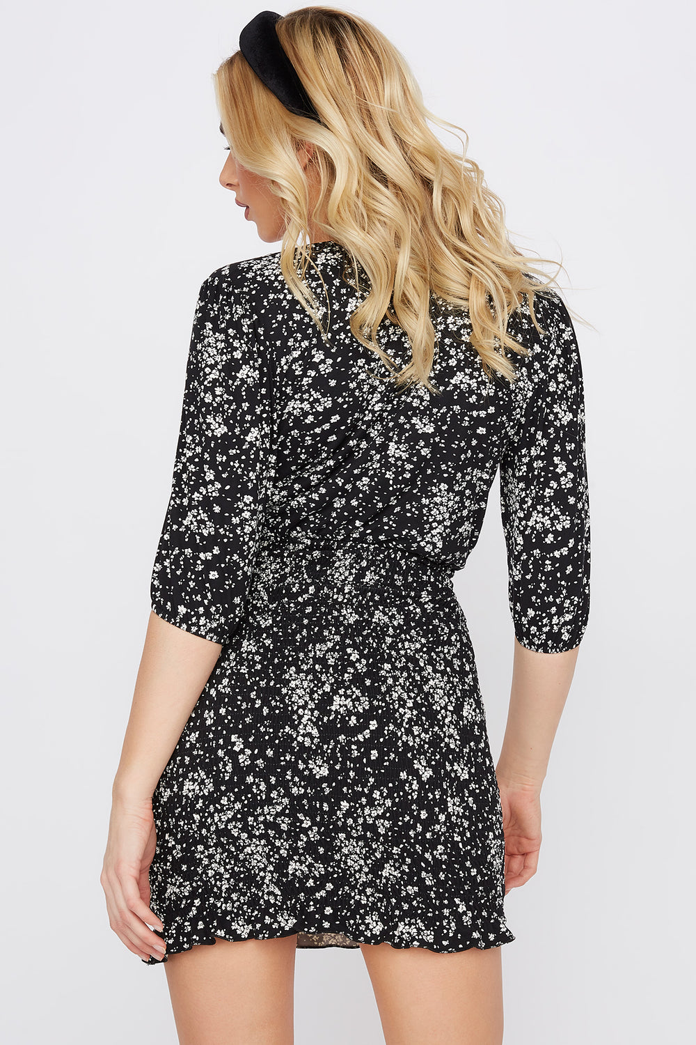 Soft Floral Smocked Lettuce Hem Mini Dress Black