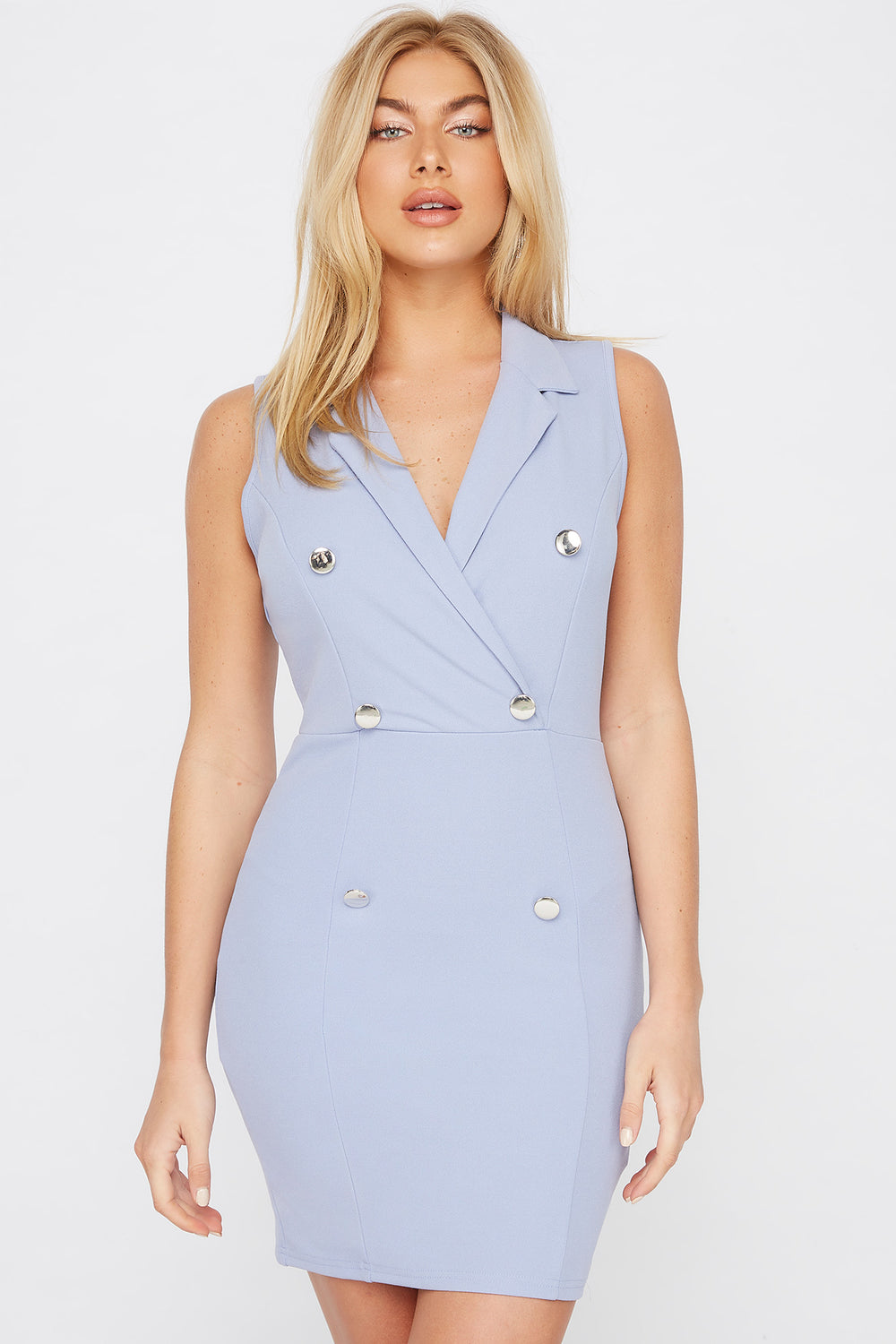 Sleeveless Blazer Mini Dress Blue
