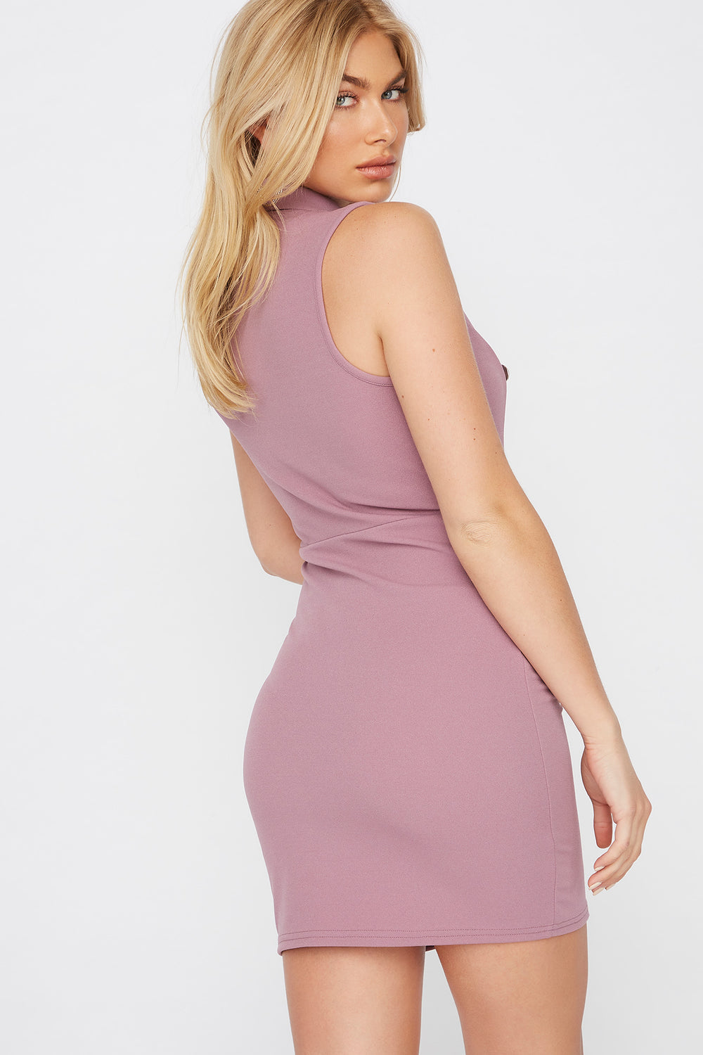 Sleeveless Blazer Mini Dress Lilac