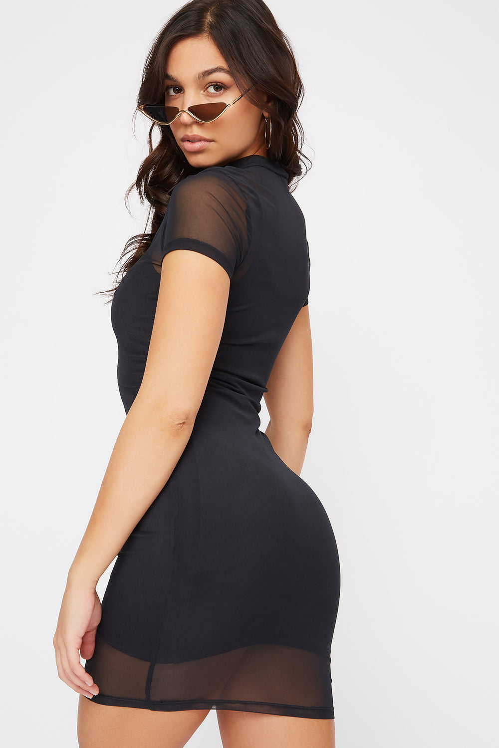 Mesh Mock Neck Mini Dress Black