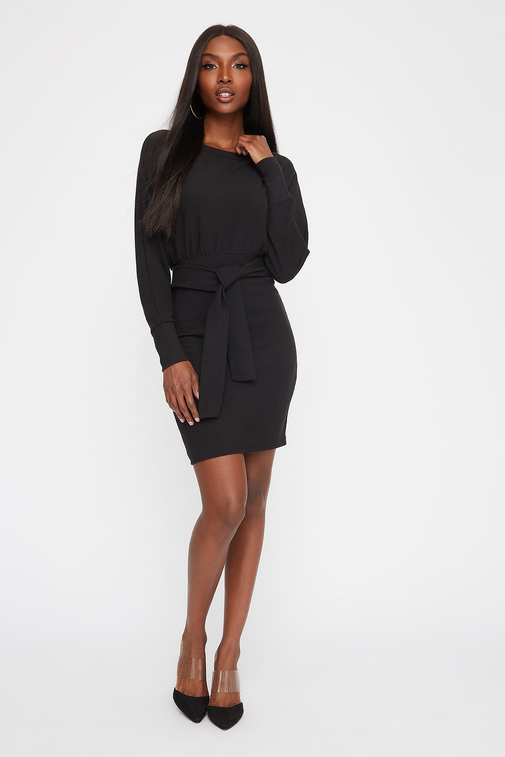 Tie Long Sleeve Mini Dress Black