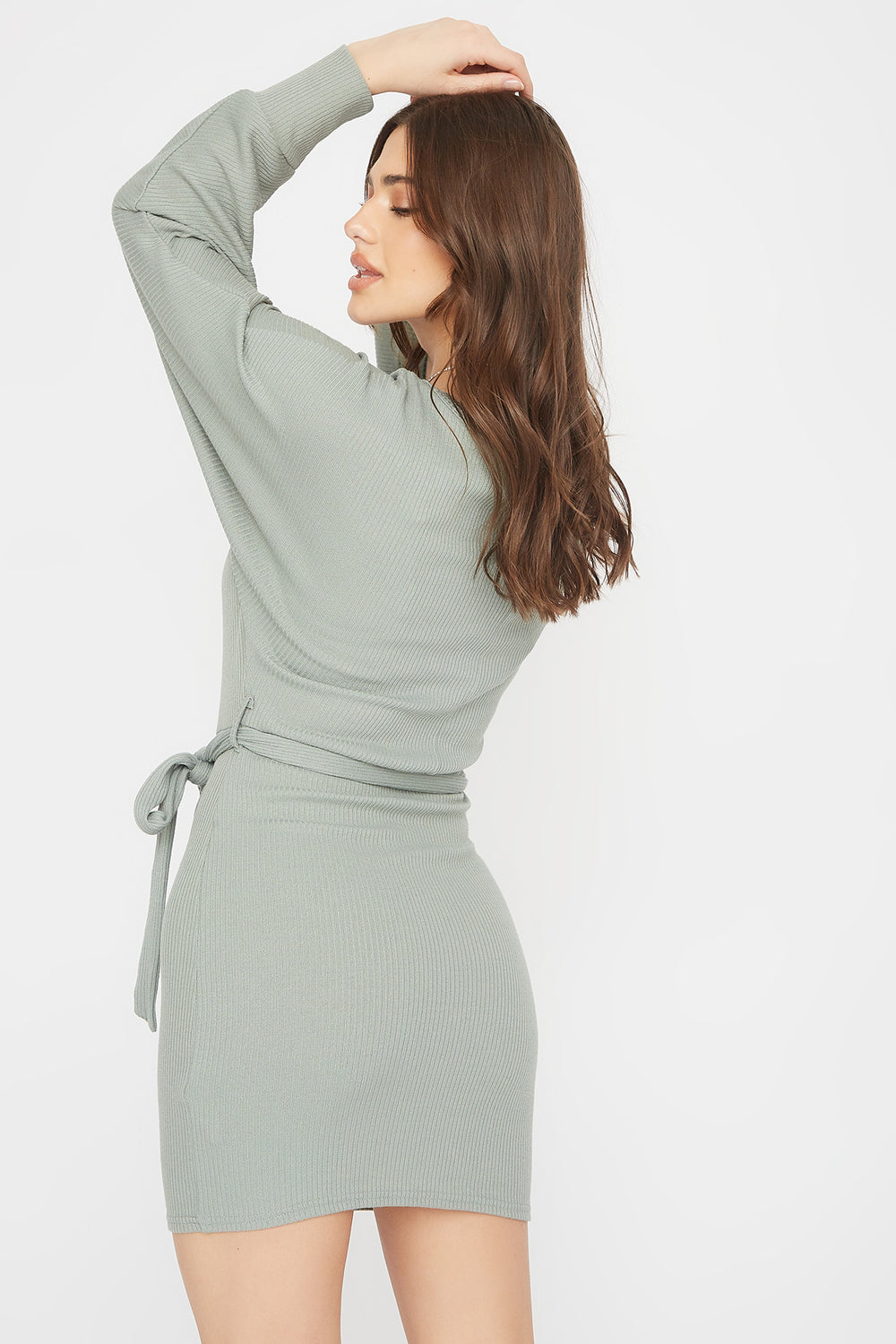 Ribbed Multi Way Self-Tie Mini Dress Sage
