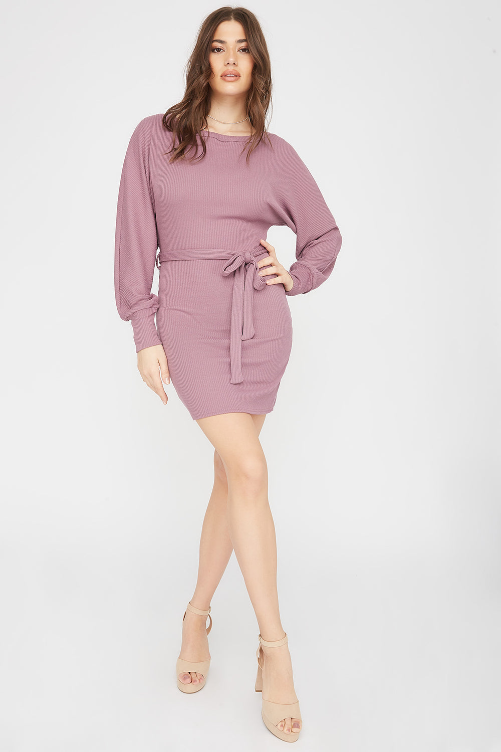 Ribbed Multi Way Self-Tie Mini Dress Lilac