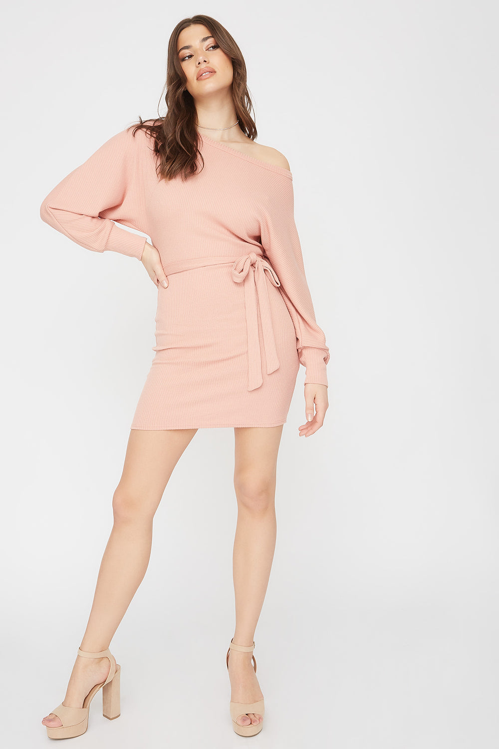 Ribbed Multi Way Self-Tie Mini Dress Dusty Rose