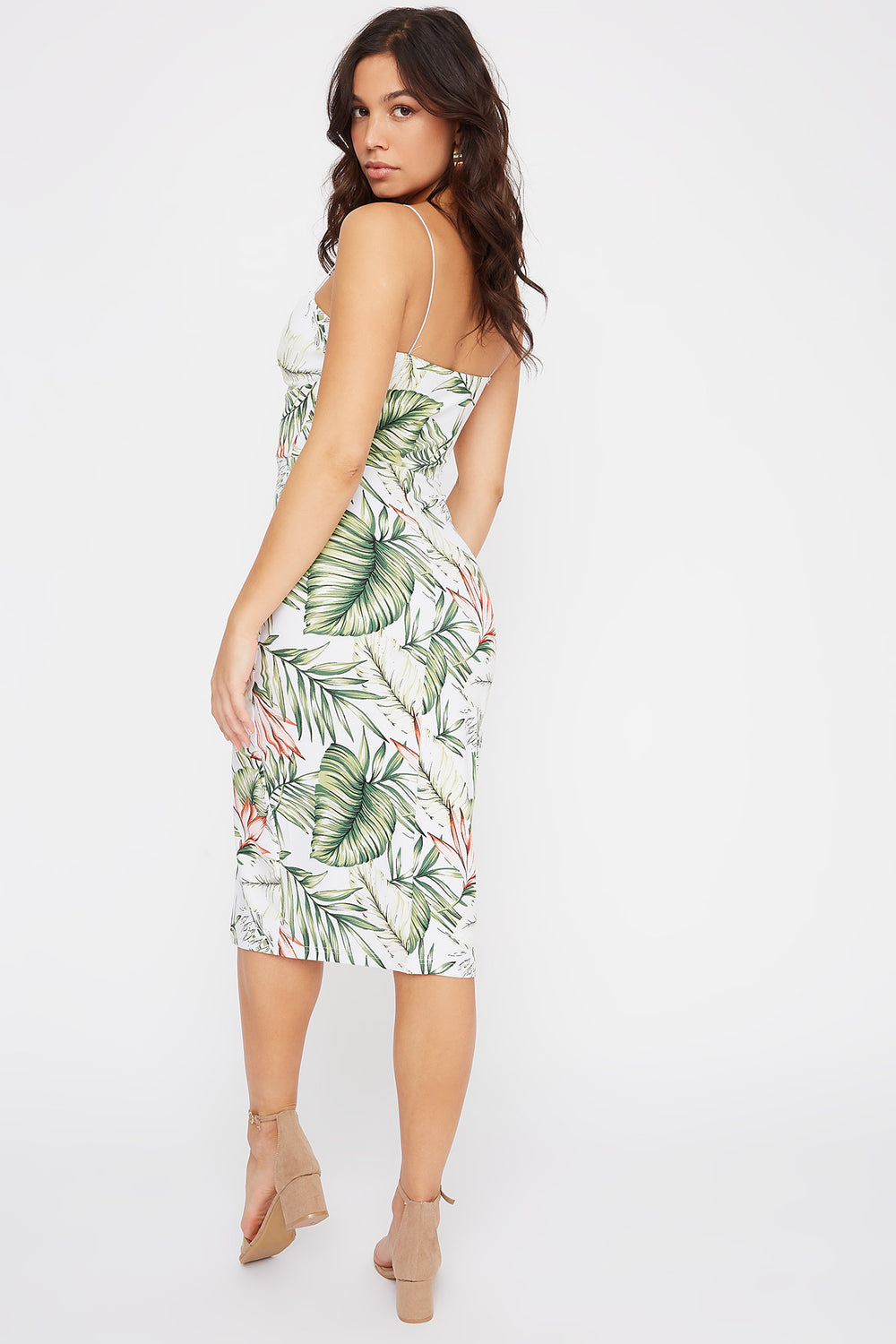 Floral V-Neck Slit Midi Dress Ivory