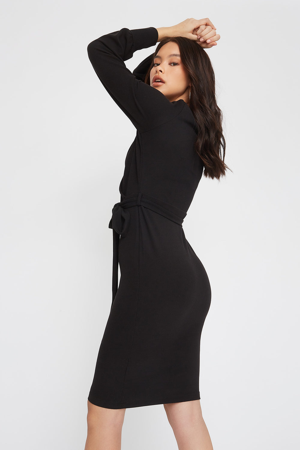 Ribbed Long Sleeve Self Belted Wrap Midi Dress Black
