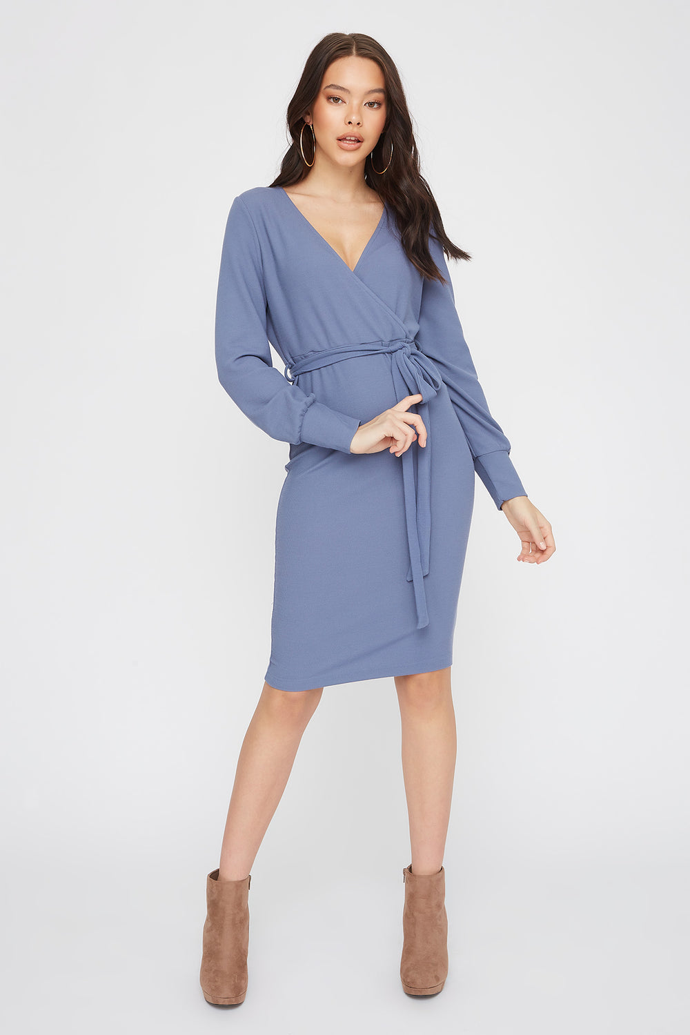 Ribbed Long Sleeve Self Belted Wrap Midi Dress Grey Blue