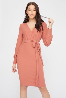 Ribbed Long Sleeve Self Belted Wrap Midi Dress