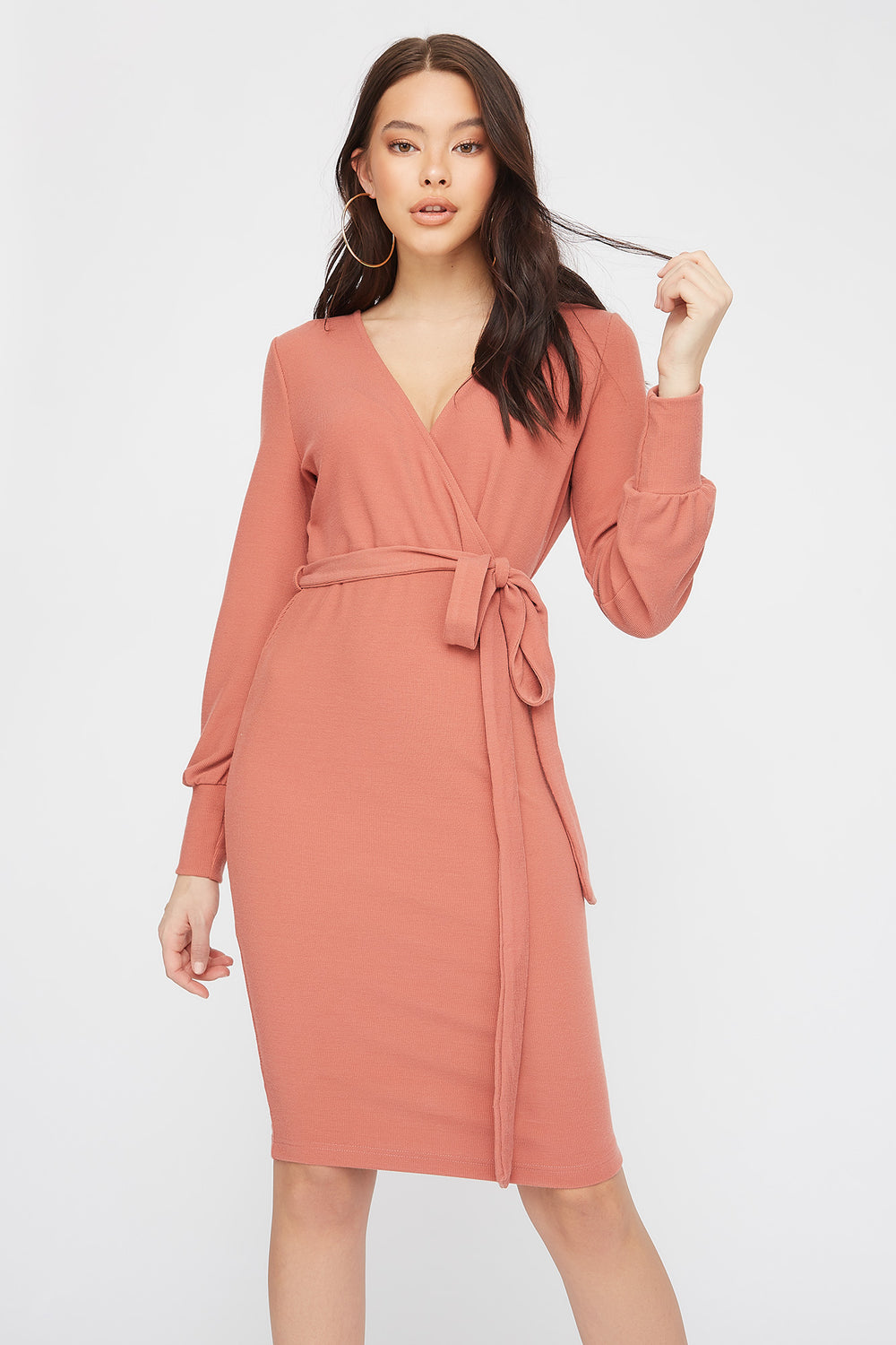 Ribbed Long Sleeve Self Belted Wrap Midi Dress Dusty Rose