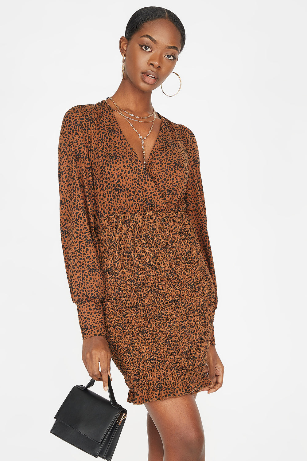 Printed Soft V-Neck Smocked Mini Dress Brown