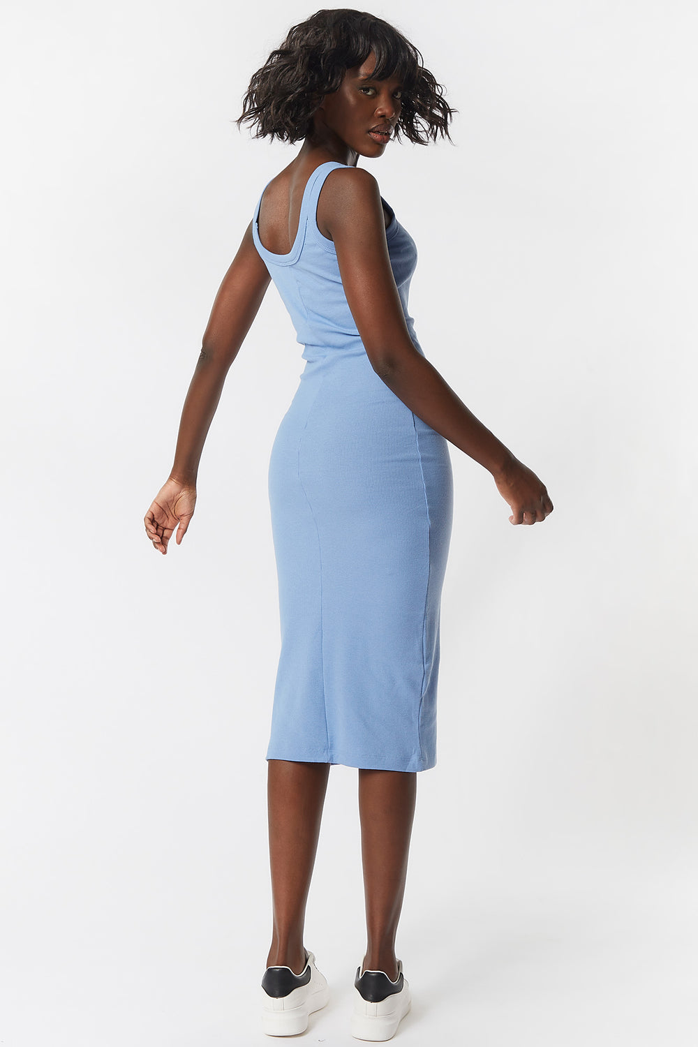 Double Strap Scoop Neck Midi Dress Light Blue