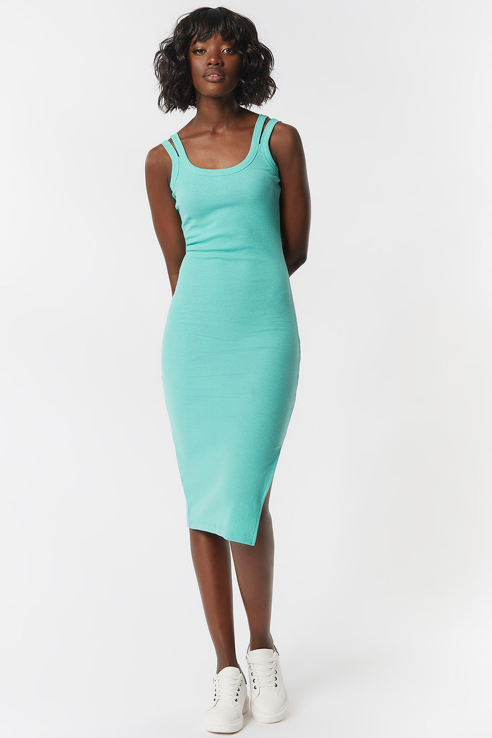 Double Strap Scoop Neck Midi Dress Sage